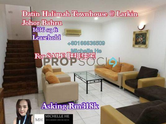 Townhouse For Sale in Datin Halimah, Johor Bahru Freehold Semi Furnished 3R/3B 318k