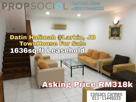 Townhouse For Sale in Datin Halimah, Johor Bahru Freehold Fully Furnished 3R/3B 318k