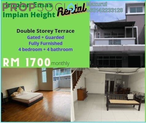 Terrace For Rent in Taman Impian Emas, Skudai Freehold Fully Furnished 4R/4B 1.7k