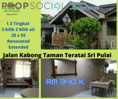 Terrace For Sale in Taman Sri Pulai, Pulai Freehold Semi Furnished 3R/2B 340k