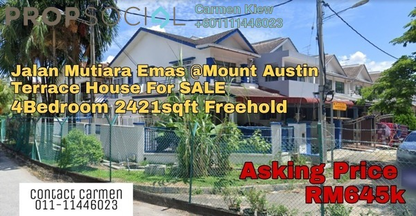 Terrace For Sale in Taman Mount Austin, Tebrau Freehold Unfurnished 4R/3B 645k