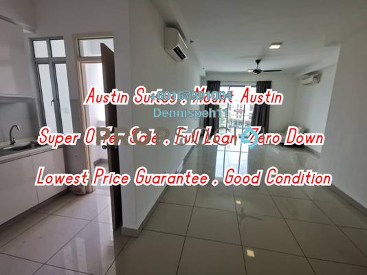 Condominium For Sale in Austin Suites, Tebrau Freehold Semi Furnished 2R/2B 350k