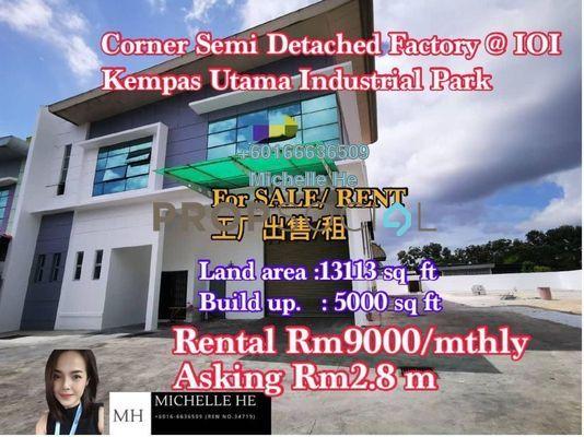 Factory For Rent in Taman Kempas Utama, Johor Bahru Freehold Unfurnished 0R/0B 9k