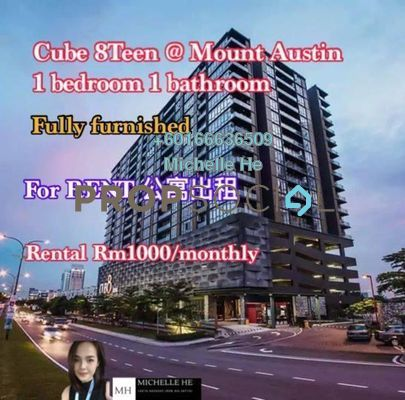 Condominium For Rent in Cube 8 Teens Service Apartment, Tebrau Freehold Fully Furnished 0R/0B 1k