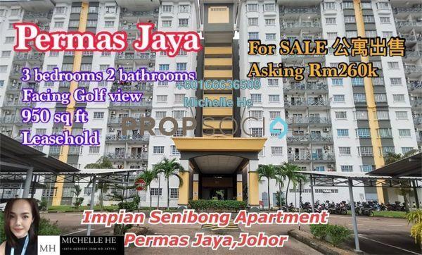 Apartment For Sale in Impian Senibong, Bandar Baru Permas Jaya Freehold Semi Furnished 3R/2B 260k
