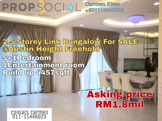 Bungalow For Sale in Taman Austin Heights, Tebrau Freehold Semi Furnished 5R/6B 1.8m