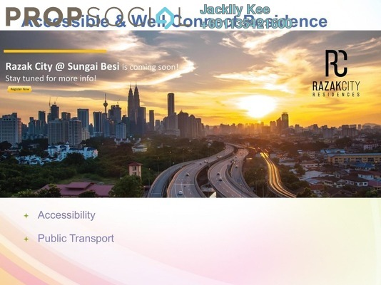 Serviced Residence For Sale in Razak City Residences, Sungai Besi Freehold Fully Furnished 3R/3B 548k