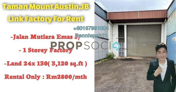 Factory For Rent in Taman Mount Austin, Tebrau Freehold Unfurnished 0R/0B 3.8k