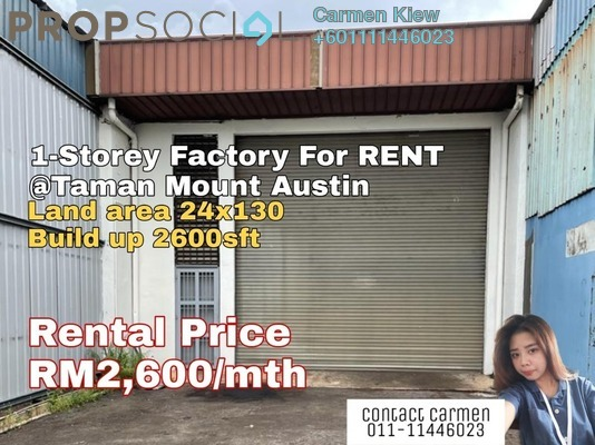 Factory For Rent in Taman Mount Austin, Tebrau Freehold Unfurnished 0R/0B 2.8k