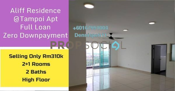 Serviced Residence For Sale in The Aliff Residences, Johor Bahru Freehold Semi Furnished 3R/2B 310k
