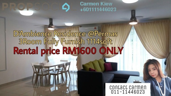 Serviced Residence For Rent in D'Ambience, Johor Bahru Freehold Fully Furnished 3R/2B 1.6k