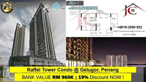 Condominium For Sale in Raffel Tower, Bukit Gambier Freehold Unfurnished 3R/3B 778k