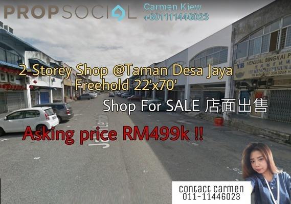 Shop For Sale in Taman Desa Jaya, Johor Bahru Freehold Unfurnished 0R/2B 499k