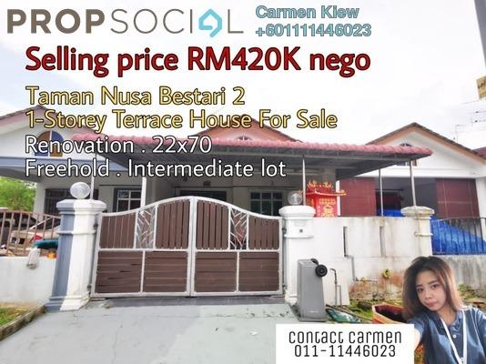 Terrace For Sale in Taman Nusa Bestari 2, Iskandar Puteri (Nusajaya) Freehold Semi Furnished 3R/2B 420k