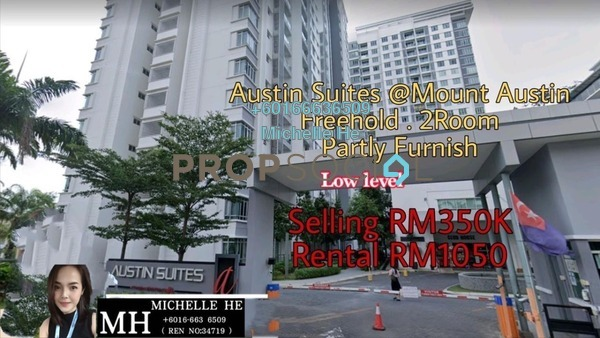 Apartment For Rent in Austin Suites, Tebrau Freehold Semi Furnished 2R/2B 1.05k