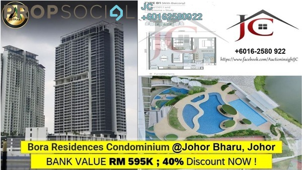 Serviced Residence For Sale in Bora Residences, Danga Bay Freehold Unfurnished 3R/2B 357k
