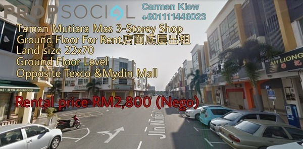 Shop For Rent in Taman Mutiara Mas, Skudai Freehold Unfurnished 0R/2B 2.8k