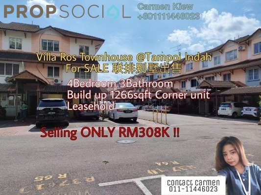 Townhouse For Sale in Villa Ros, Johor Bahru Leasehold Semi Furnished 4R/3B 308k