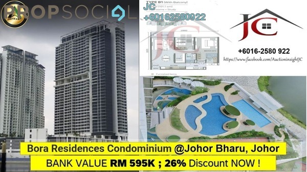 Condominium For Sale in Bora Residences, Danga Bay Freehold Unfurnished 2R/2B 446k