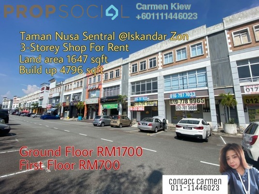 Shop For Rent in Nusa Sentral, Iskandar Puteri (Nusajaya) Freehold Semi Furnished 0R/2B 1.7k