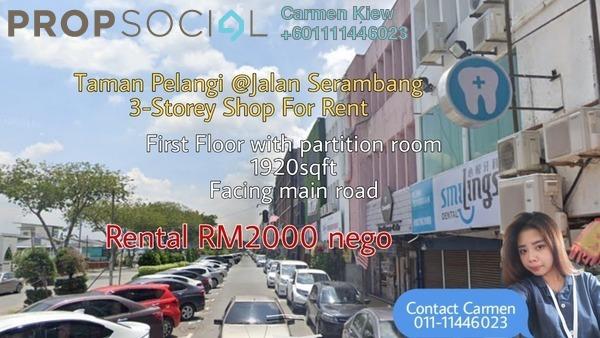 Shop For Rent in Taman Pelangi, Johor Bahru Freehold Semi Furnished 3R/2B 2k