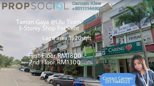 Shop For Rent in Taman Gaya, Ulu Tiram Freehold Semi Furnished 6R/2B 1.8k