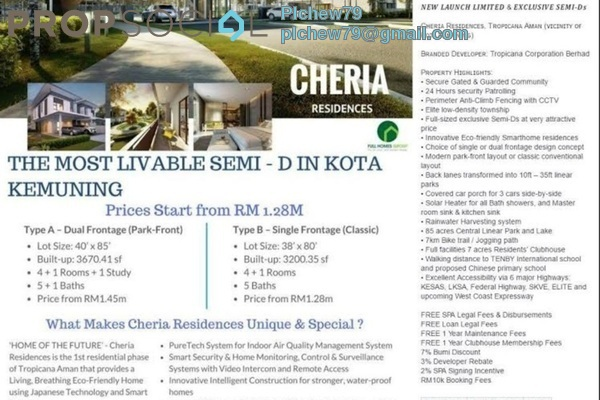Semi-Detached For Sale in Cheria, Tropicana Aman Leasehold Unfurnished 5R/5B 1.28m
