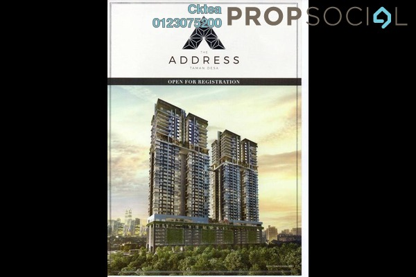 For Sale Condominium at The Address, Taman Desa Freehold Unfurnished 3R/3B 734k