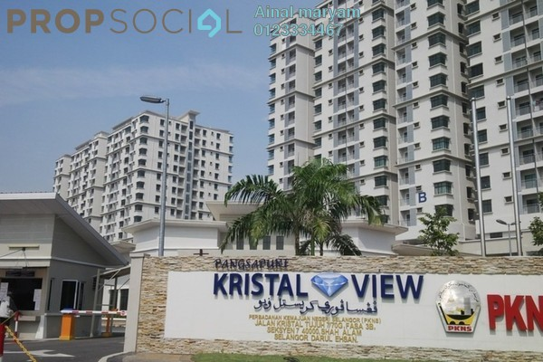 Condominium For Rent in Kristal View, Shah Alam Freehold Semi Furnished 3R/2B 2.1k