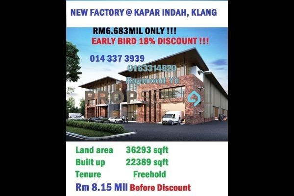 Factory For Sale in Kapar Industrial Park, Kapar Freehold Unfurnished 0R/2B 6.68m