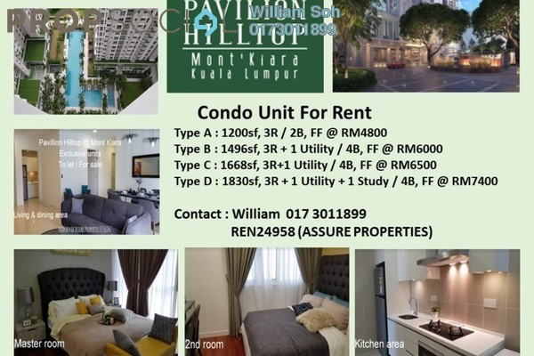 Condominium For Rent in Pavilion Hilltop, Mont Kiara Freehold fully_furnished 3R/2B 4.8k