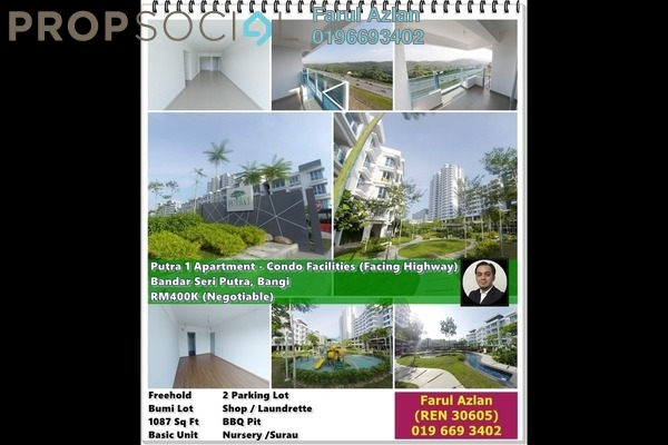 Apartment For Sale in Putra 1 Apartment, Bandar Seri Putra Freehold Unfurnished 3R/2B 400k