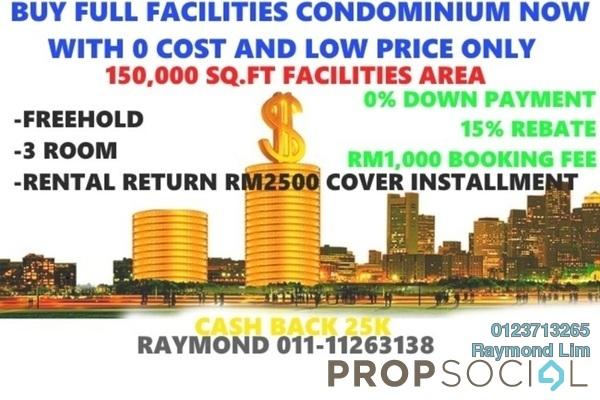 Condominium For Sale in Seksyen 1, Bandar Baru Bangi Freehold Semi Furnished 2R/2B 199k
