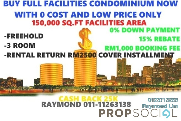 Condominium For Sale in Seksyen 3, Bandar Baru Bangi Freehold Semi Furnished 2R/2B 199k