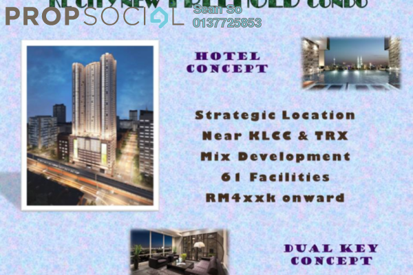 Serviced Residence For Sale in Trion @ KL, Kuala Lumpur Freehold Semi Furnished 2R/2B 547k