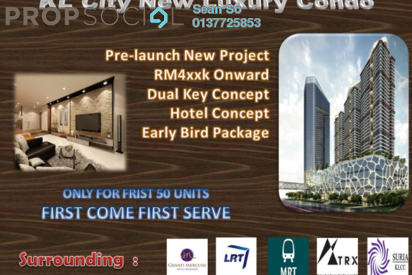 Serviced Residence For Sale in Trion @ KL, Kuala Lumpur Freehold Semi Furnished 2R/1B 473k