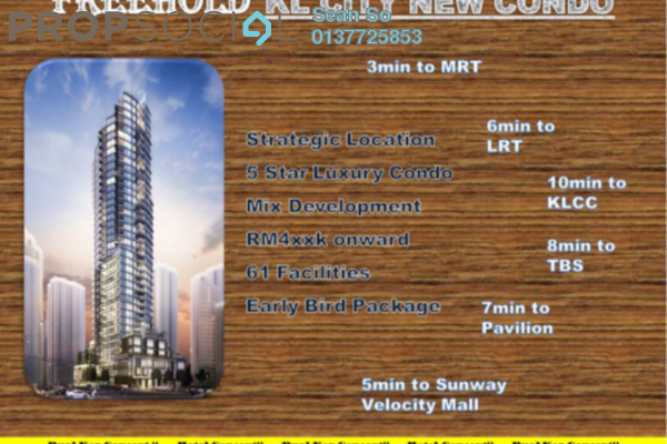 Serviced Residence For Sale in Trion @ KL, Kuala Lumpur Freehold Semi Furnished 3R/3B 734k