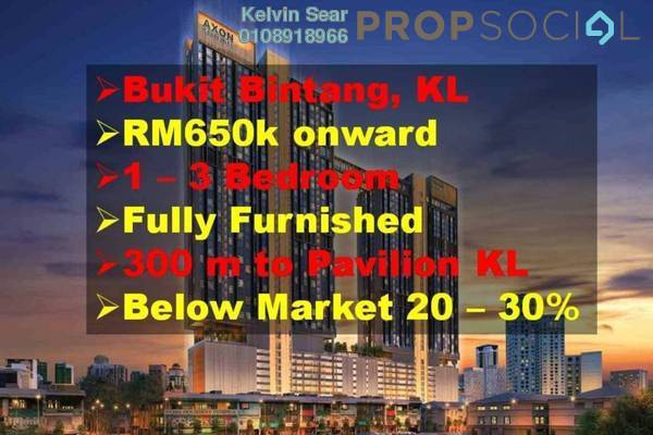 Condominium For Sale in Axon, Bukit Bintang Freehold Fully Furnished 2R/1B 900k