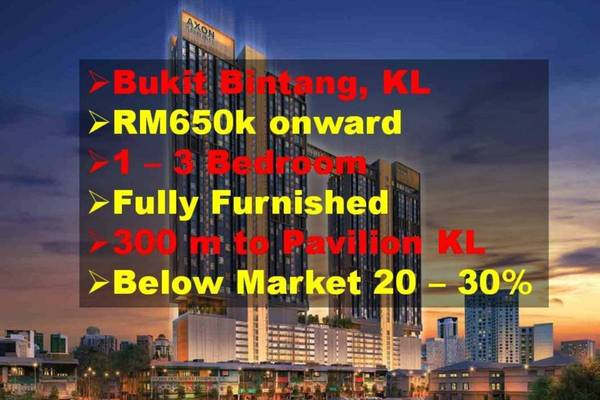 Condominium For Sale in Axon, Bukit Bintang Freehold Fully Furnished 1R/2B 900k