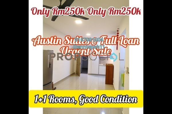 Condominium For Sale in Austin Suites, Tebrau Freehold Semi Furnished 1R/1B 250k
