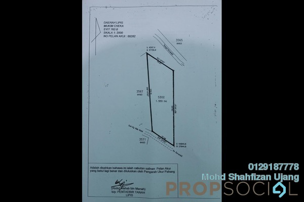 Land For Sale in Kampung Kijang, Kuala Lipis Leasehold Unfurnished 0R/0B 160k