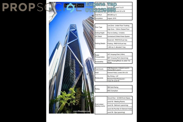 Office For Rent in Ilham Baru Tower, KLCC Freehold Unfurnished 0R/0B 36.8k