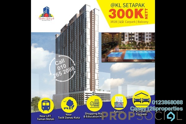 Condominium For Sale in Vista Danau Kota, Setapak Leasehold Unfurnished 3R/2B 300k