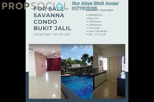 Condominium For Sale in Savanna 1, Bukit Jalil Freehold Fully Furnished 4R/2B 590k