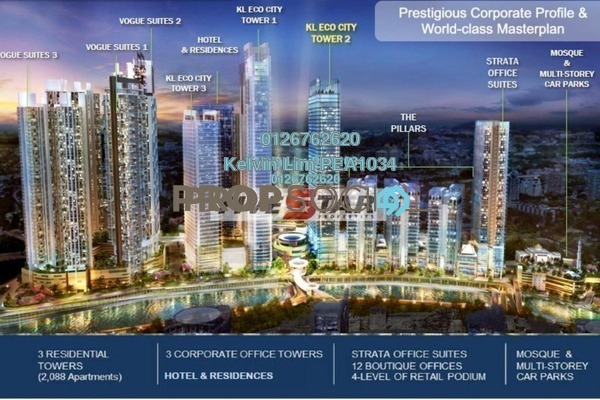 For Rent Office at The Pillars @ KL Eco City, Mid Valley City Freehold Unfurnished 1R/1B 19.8k