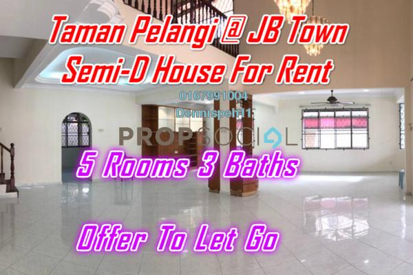 Semi-Detached For Rent in Taman Pelangi, Johor Bahru Freehold Semi Furnished 5R/3B 2.5k