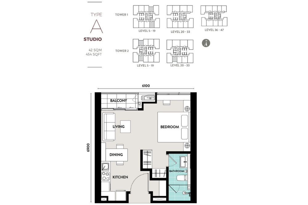 Lucentia Residences Type A (Studio) Floor Plan