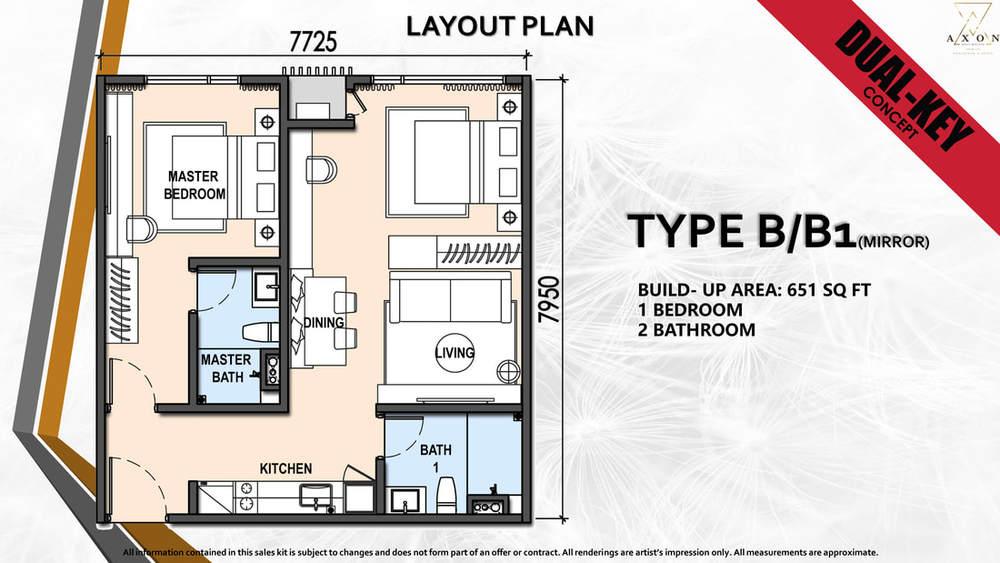 Axon Type B/B1(Mirror) Floor Plan