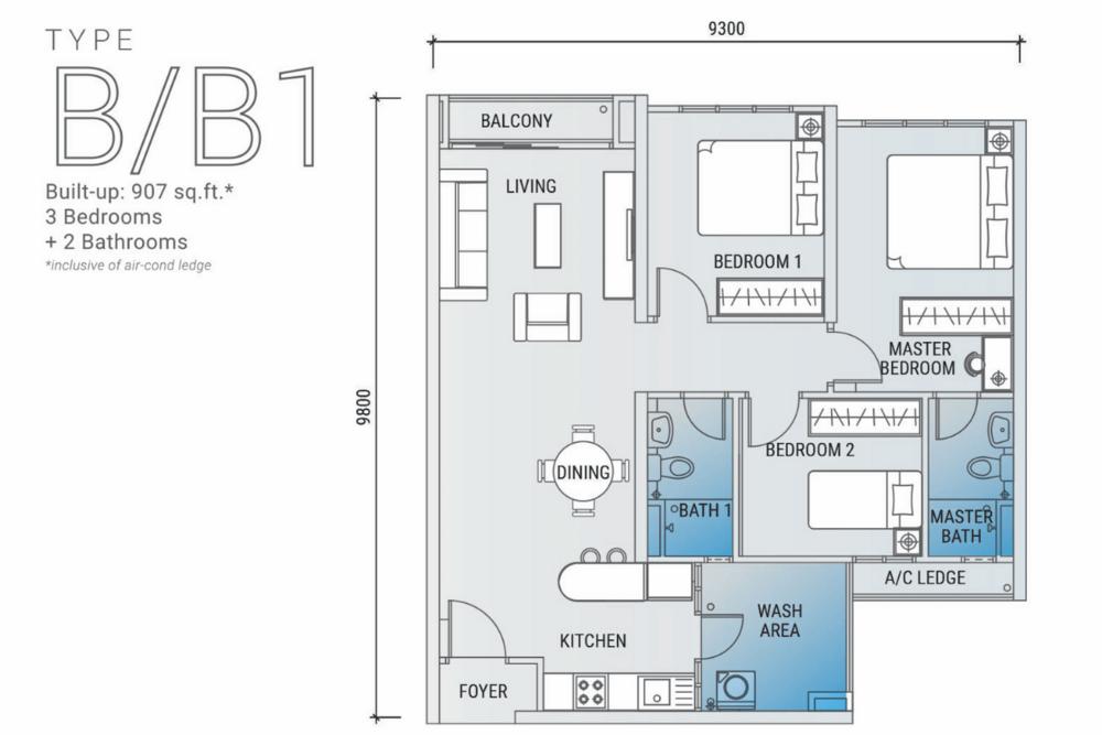Platinum Arena Type B/B1 Floor Plan