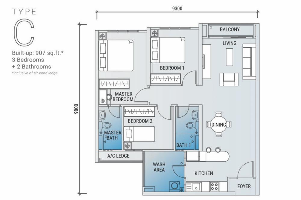 Platinum Arena Type C Floor Plan